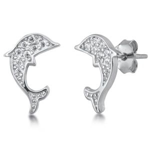 .925 Sterling Silver Clear CZ Dolphin Stud Earring